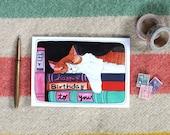 Birthday Card - Cat Birthday Card - Blank Birthday Card - Books and Cats - Blank Cat Birthday Card - Illustrated Card - Birthday Cat