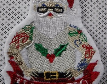 Tattoo Santa Claus Embroidered Iron On Patch, Patches, Winter Holiday, Yule, Holiday Season, Holiday Patches, Christmas Stocking, Santas Ink