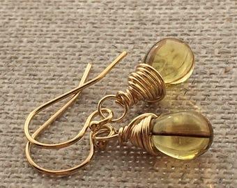 Light Olivine Yellow Brown Striped Small Drop Gold Filled Earrings. Faux Bi Colour Lemon Smokey Quartz Teardrop Earrings. Briolette Earrings