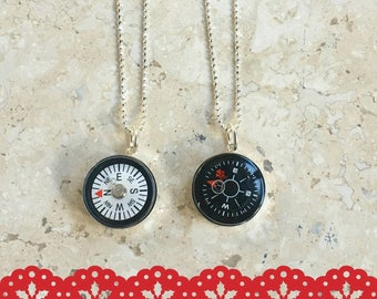 Compass Necklace Black  or White Working Dial  Sterling Silver Setting Valentine Necklace