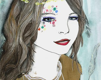 Fun Portrait ORIGINAL ILLUSTRATION Gold Rainbow Confetti Feathers Floating Flying Floral Headpiece Head Piece Floral Crown Sketch Ink Paint