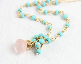Pink and Turquoise Necklace, Turquoise Gemstone Necklace, Rose Quartz Necklace, Sky Blue Necklace, Gold Turquoise Necklace, Beaded Stone