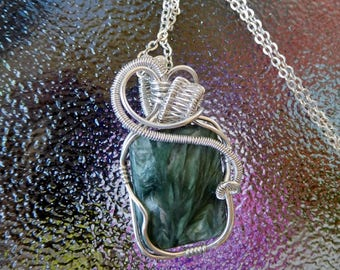 Seraphinite Angel stone sterling weave wire wrapped pendant