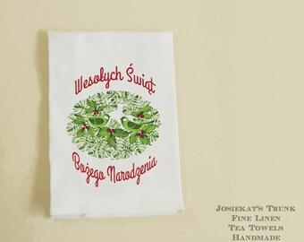Polish Christmas Tea Towel - Christmas Hostess Gift - Wesolych Swiat Bozego Narodzenia - White Linen - Hostess Gift Retro - Wigilia Gift