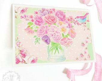 Vase of flowers card, flower card, floral card, birthday card, pink, friendship, blank all occasion card