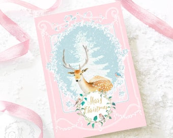 Deer, reindeer, Christmas card, pink Christmas, holiday printable, instant digital download, Personal use only