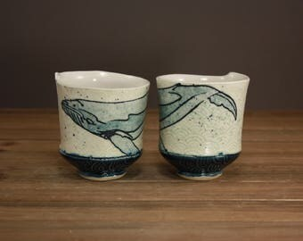 Watercolor Whale Whiskey Cup| Ocean Minded Arts| Beach Decor| Inspired by Nature| Tea Cup|