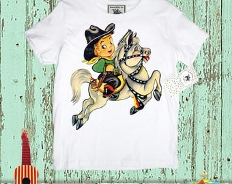Boys Cowboy Shirt, Boy on Horse, Vintage Illustration, Cute Western T Shirt, size 2, 4, 6, 8, 10, or 12