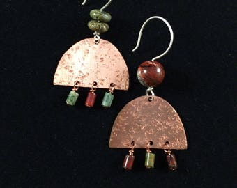 Mismatched Copper and Jasper Earrings