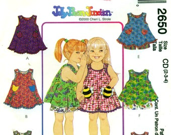 McCall's 2650 JELLY BEAN JUNCTION Dress or Top & Shorts Novelty Pockets ©2000 Size 2 - 3 - 4