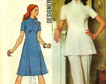 Simplicity 5292  Dress and Tunic and Pants DESIGNER FASHION 1970s Size 10 ©1972