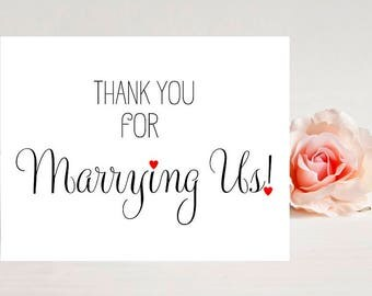 Card for officiant - Card for wedding - Wedding Cards- Thank You Card Officiant - Thank you for marrying us