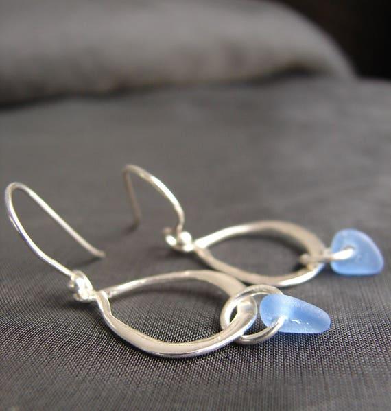 Waterline sea glass earrings in cornflower blue