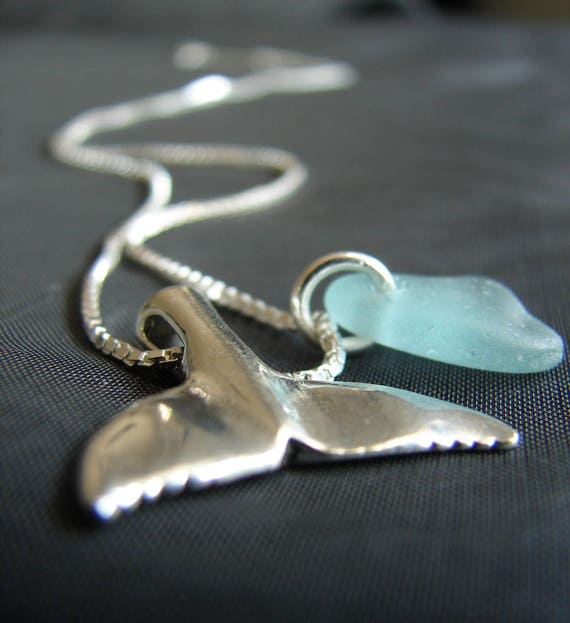 Whale Tail sea glass necklace in aqua