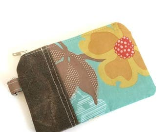 Change Purse No. 1 in Yellow Flowers and Waxed Canvas