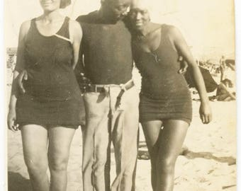 vintage photo 1928 African American young man Belt Unbuckled Ladies Swimsuit Beach