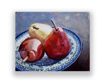 Polish Pottery wall decor fruit art print, Pear print, Still Life art, blue kitchen decor, food art giclee  Heather Sims Size Mat option