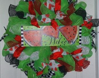 REDUCED - Summer wreath watermelon wreath red green wreath front door wreath welcome wreath