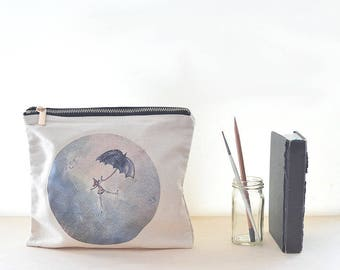 cotton pouch, whimsy rain print, birthday under 15, large zipper pouch, something grey, girl with umbrella, gift for her