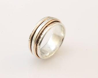 Narrow Keiro Meditation Ring, spinner ring, wedding band, wedding ring