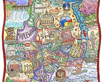 """Rochester New York Map Art Print 11""""x 14"""""""