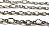 10 Feet of Antique Brass Fancy Curb Chain, Antique Brass Chain, 7.5mm x 5mm Chain for Making Jewelry