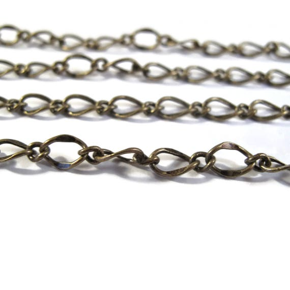 10 Feet of Antique Brass Fancy Curb Chain, Antique Brass Chain, 7.5mm x 5mm Chain for Making Jewelry (FS cb/265/fab)