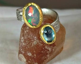 Opal and Blue Topaz Ring, Multi Stone ring, gemstone Bypass  Ring,  22 kt yellow  gold , silver  and opal ring