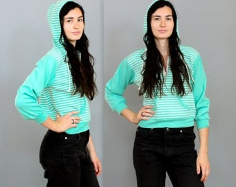 80's Seafoam Striped Cropped Hooded Sweater in Small XS . Fitted Hoody Crop Top 1990s 90s 1980s Retro . His and Hers Matching Sets BFF gift
