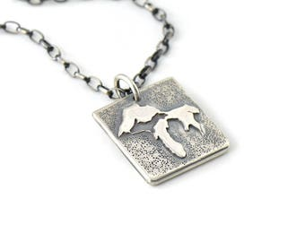 Handmade Reversible Superior Watershed Partnership Sterling Silver Pendant