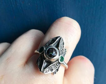 Australian Boulder Opal and Emeralds in Sterling- Three Stone Dragonfly Ring