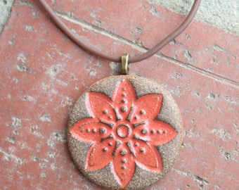 Rustic Orange Flower Stoneware Pendant