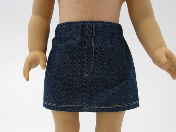 18 Inch Doll Clothes - Made to Fit American Girl - 18 Inch Doll Skirt - Girl Denim Skirt - 18 Inch Doll Skirt - A Doll Boutique