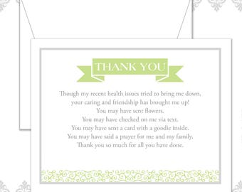 You're so Kind stationery set of 10 flat cards and envelopes, Health thank you stationery, Grateful Notecards, Helping hands cards, Thankful
