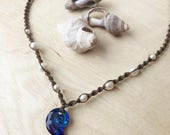Macrame White Pearl and Swarovski Crystal Necklace - Moana Inspired