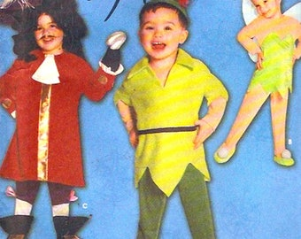 Captain Hook Tinkerbell Peter Pan costumes baby toddler kids sewing pattern Simplicity 9844 UNCUT Size half to 4 Halloween themed birthday