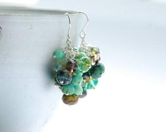 Cluster Earrings, Dangle Earrings, Whimsical Earrings, Statement Earrings, Mint Green Earrings, Aqua Earrings, Rain, Shiny Silver - Splash