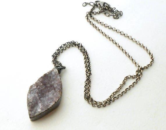 Silver Druzy Necklace, Oxidized Sterling Silver Raw Stone Pendant Necklace