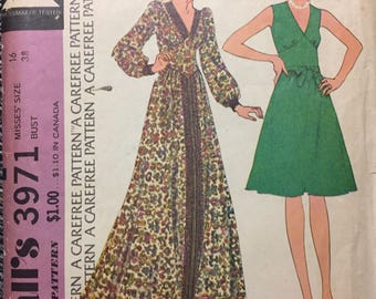 Vintage 1970s Dress Sewing Pattern McCall's 3971  Size 16 Bust 38 Inches Complete