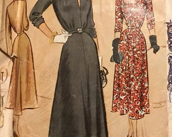 Vintage 1940's Misses' Dress Sewing Pattern McCall 7864 Size 20 Bust 38  Complete