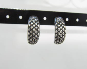Sterling Silver Basket Weave Half Hoop Earrings - 2489