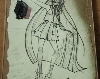 Exclusive Fashion Sketch w/ Fabric Clippings, Created by Project Runway Designer, Fashion Design, Wall Art, Home Decor, Fashion Illustration