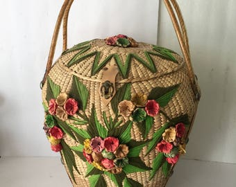 Extra Large Vintage Wicker Market Tote Basket Purse Perfect for Wedding Cards or Sewing Supplies Floral and Yarn Embroidered