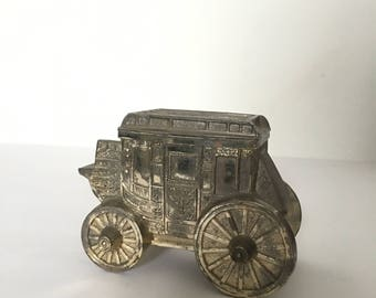 Vintage Coin Bank Stage Coach Mail Wagon sold Wild West Silver Plate Leonard Bank Made in Japan
