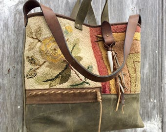 Carpet Bag from 1883 Hooked Rug and Distressed Brown and Evergreen Leather Rustic Yellow Rose Victorian Large Tote Bag by Stacy Leigh