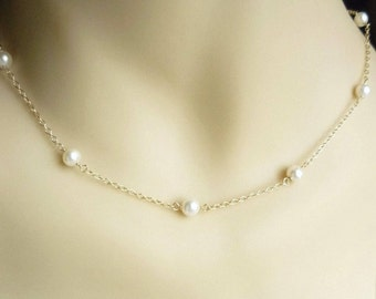 Gold pearl necklace with 14K gold filled chain, pearl necklace, bridal jewelry