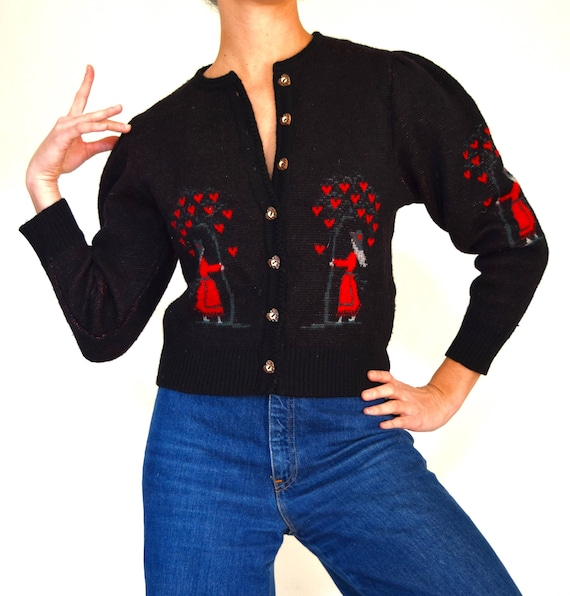 Vintage 80s 90s Ladies and Love Trees Black Wool Cardigan with Wooden Heart Buttons (size medium)