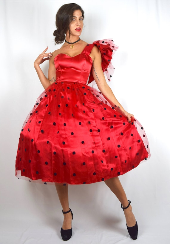 Vintage 80s does 50s Ruby Red Satin Polka Dot Mesh Overlay New Look Party Dress (size xxs, xs)