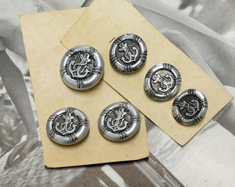 Metal Anchor Buttons - Silver Buttons - Vintage buttons - shank buttons - blazer buttons - craft buttons in 2 sizes 23 and 28 mm