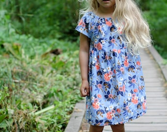 Fall dress boho floral navy blue coral gold periwinkle baby girl toddler Thanksgiving dress Rifle Paper Co. coordinating sisters photoshoot